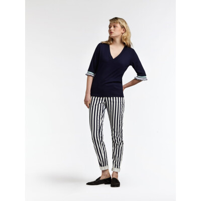 Sandwich Maritime Blue Top with frilled sleeve and stripe detail available on colmershill.com