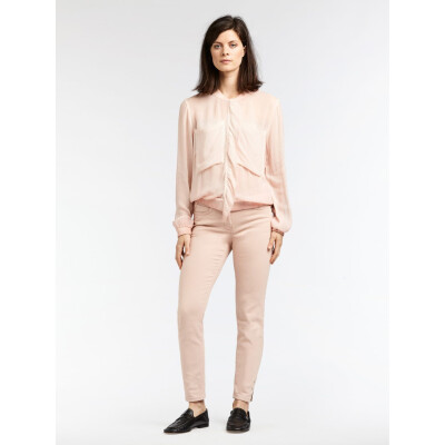 Sandwich sheer ruffle bomber jacket in pale pink available at colmershill.com