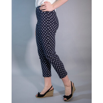 Robell Bella 09 Trousers in a navy polka dot print. A limited edition available on colmershill.com