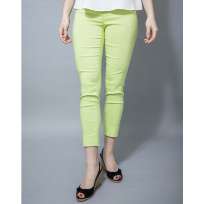 The Robell 7/8th Rose trouser is a slim fit trouser in lime green available on colmershill.com