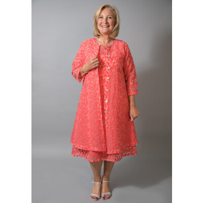 Out of Xile Leaf Embroidered Dress and Coat in Tangerine at colmershill.com