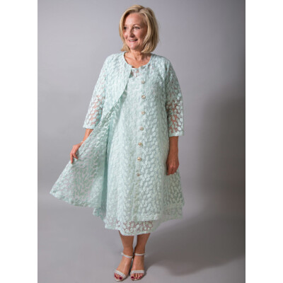 Out of Xile Midi Dress with embroidered leaf design in aqua available at colmerhill.com