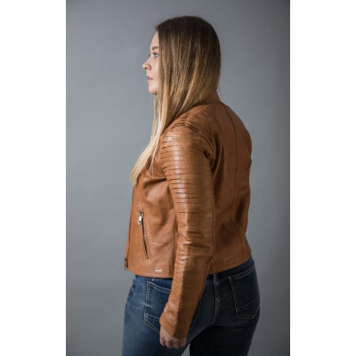 Rino & Pelle Hestia leather jacket with its layered sleeves available from colmershill.com