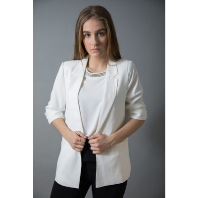 Soaked in Luxury blazer with ruched 3/4 length sleeves available in black white and navy from colmershill.com