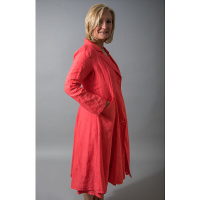 Out of Xile Linen Coat 20P in Tangerine available at colmershill.com