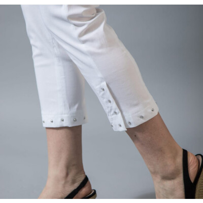Robell Rose 09 White Trousers with a stud detail and split on the ankle available from colmershill.com