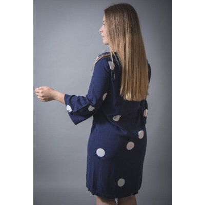 Sandwich Large Spot Shift Dress in Maritime Blue available on colmershill.com