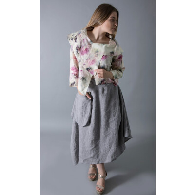 Ralston Lidia jacket in a pastel rose print with a shawl collar. Available on colmershill.com.