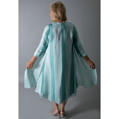 Out of Xile coat with wide stripe on organza in aqua green. Style 10. Available on colmershill.com