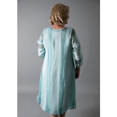 Out of Xile organza wide stripe A-line dress for special occasion in aqua green Style 12 available on colmershill.com