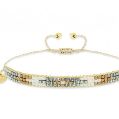 Boho Betty friendship bracelet with gold, silver and white japenese miyuki beads available on colmershill.com