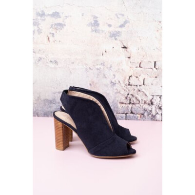 Cara Atlanta suede bootie sandals with peep toe available in red and navy available on colmershill.com