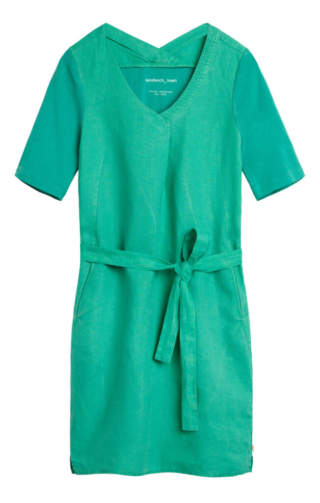 ea3e2474238 SANDWICH LINEN & JERSEY DRESS JOLLY GREEN