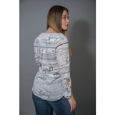 Tinta Ariel blouse with a handwritten design in black and white is available on colmershill.com