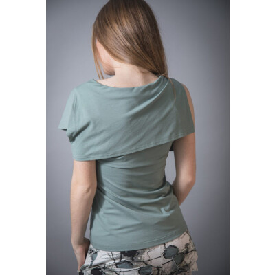 Elsewhere Green Shawl Collar Asymmetric Top in jersey available on colmershill.com