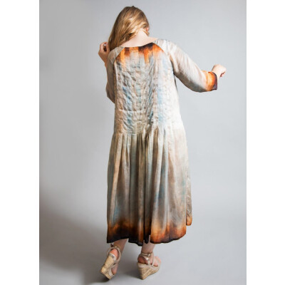 Yavi-Raga silk pleated dress in bronze available at colmershill.com