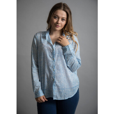 Luella Antigua spot print shirt in blue available on colmershill.com