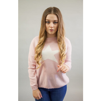Luella pale pink star jumper in cashmere mix available from colmershill.com