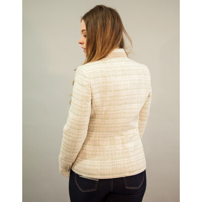 Bariloche Belavista Tweed Jacket in cream with a hint of pale green available on colmershill.com
