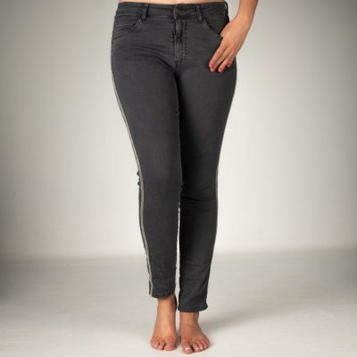 We love these Melly & Co Jeans available in various colours. These Melly jeans in Charcoal Grey have a silver beaded stripe down the trouser leg. Super comfortable because of the stretch cotton fabric, and very flattering. Available on colmershill.com