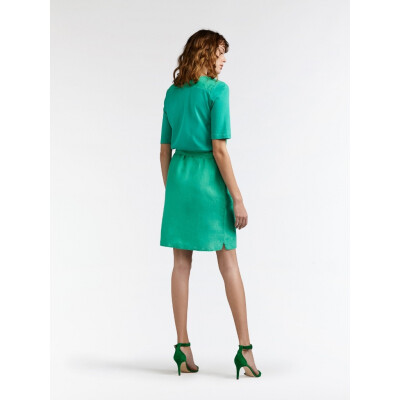 Sandwich Linen and Jersey Dress in Jolly Green with a sash belt available on colmershill.com