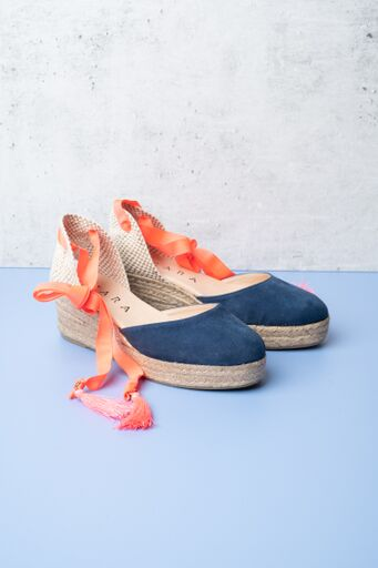 Cara Soda Marine demi wedges with a marine blue suede toe and flourescent orange ribbons to tie around the ankle, available on colmershill.com