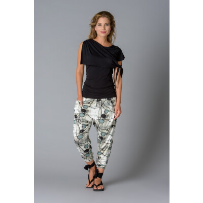 Elsewhere Black Shawl Collar Asymmetric Top in jersey with printed hareem trousersavailable on colmershill.com