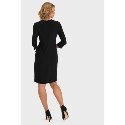 Joseph Ribkoff Military Style Black Dress with gold button detail available on colmershill.com
