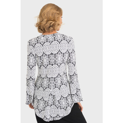 Joseph Ribkoff Lace Overlay Top with full length bell sleeves available on colmershill.com