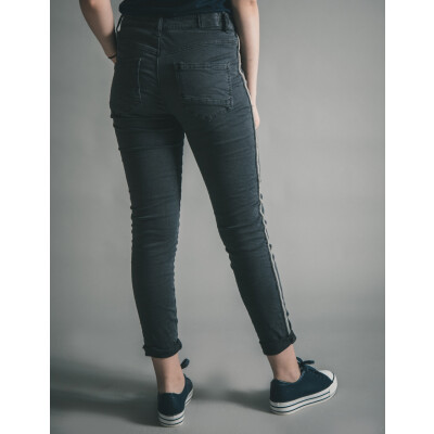 Melly & Co Charcoal Beaded Stripe Jeans available on colmershill.com