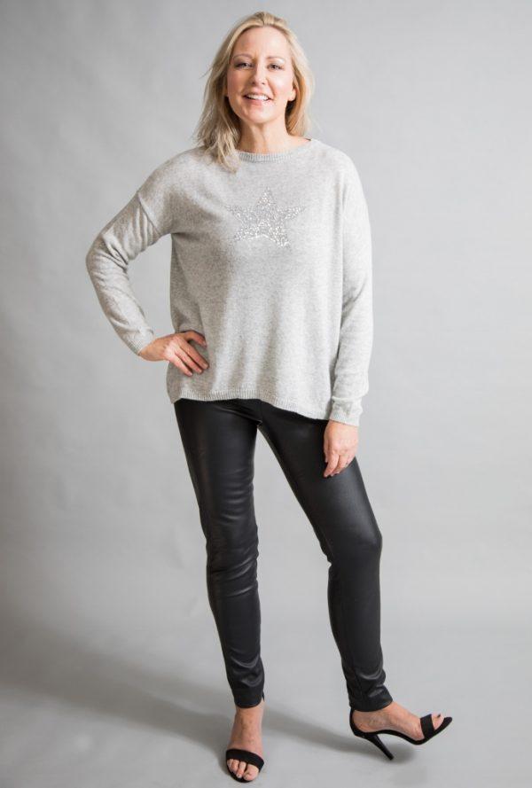 Luella silver sequin star cashmere jumper available on colmershill.com