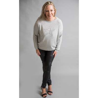 Luella silver sequin star cashmere jumper available on colmershill.com