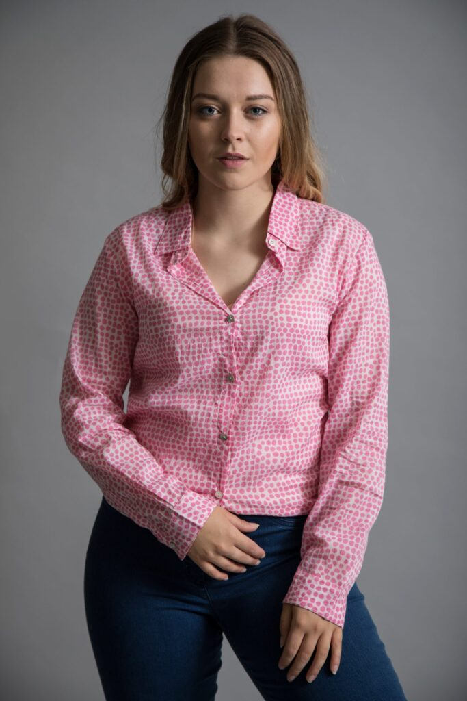 Luella Antigua Boyfriend Shirt in Pink, available at colmershill.com