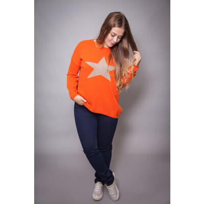 Luella Cashmere Star Jumper Orange and Sand available on colmershill.com
