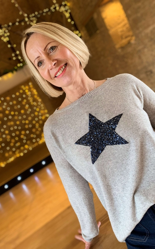 Luella Cashmere silver grey jumper with a navy blue sequin star available on colmershill.com