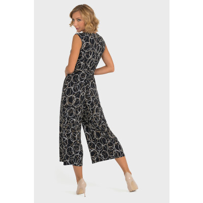 Joseph Ribkoff Cropped Jumpsuit with a circular print in black, beige and silver Product Code 193686 available from colmershill.com
