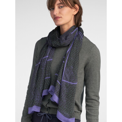 Sandwich Clothing Scarf Thyme with an abstract circular print in violet and deep thyme colours available from colmershill.com