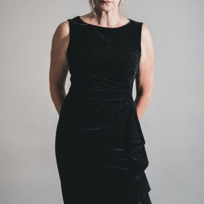 Joseph Ribkoff Black Velvet Sparkle Dress 194552 available on colmershill.com