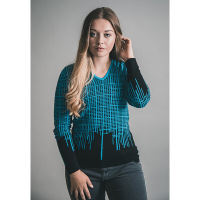 Marble Checkered Cotton Fitted Jumper Blue 5487_180 available on colmershill.com
