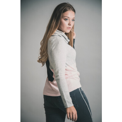 Marble Roll Neck Block Print Sweater Pale Pink 5497_120 available at colmershill.com