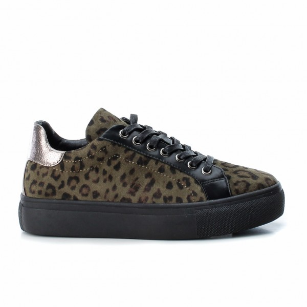 Refresh Leopard Print Trainers Khaki in faux suede available on colmershill.com