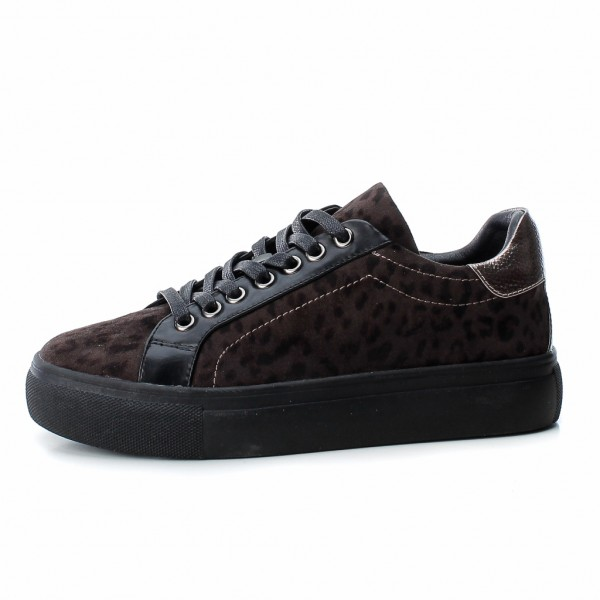 Refresh Leopard Print Trainers Black available at colmershill.com