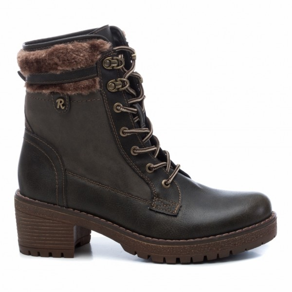 Refresh Lace Up Faux Leather Fur Trim Ankle Boots Khaki available on colmershill.com