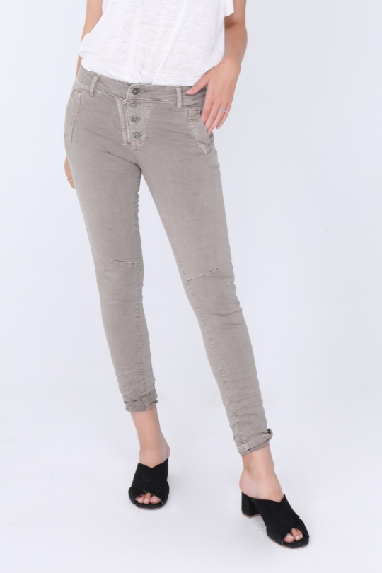 Melly & Co 5 Button Ice Grey Jeans in stretch cotton available on colmershill.com