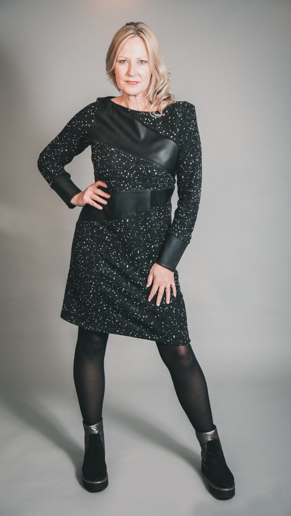 Elsewhere Adele Fleece & Faux Leather Dress in Black available on colmershill.com
