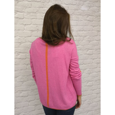 Luella Janine cashmere jumper in fuchsia pink with orange stars on the elbows and a stripe down the back, available from colmershill.com