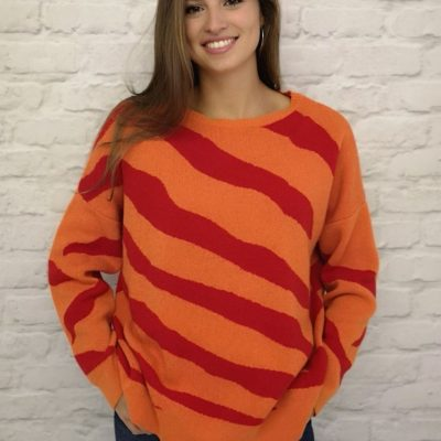 The funky Luella Savannah cashmere blend jumper in orange and red available on colmershill.com