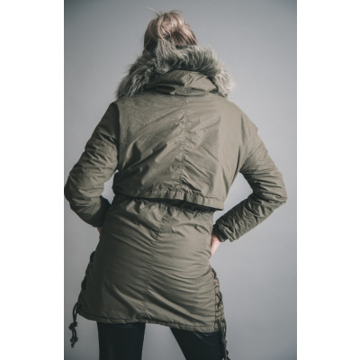 Rino & Pelle Parker Khaki with a fur trim hood available on colmershill.com