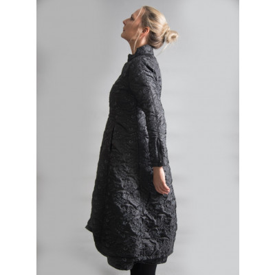 Out of Xile Quilted Embroidered Long Coat Black available on colmershill.com