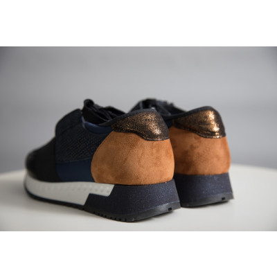 Alpe navy blue trainers with tan suede back trim available on colmershill.com